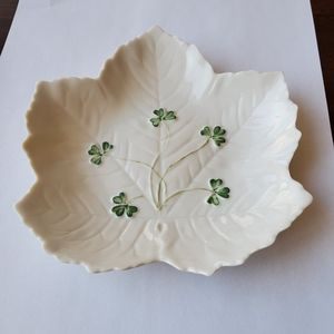 Leaf Shaped Belleek Shamrock Dish